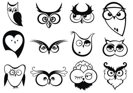 dcor: Set of cartoon owls with various emotions