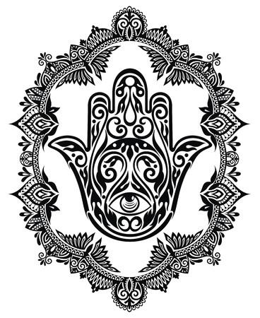 providence: Hamsa hand in decorative frame Illustration
