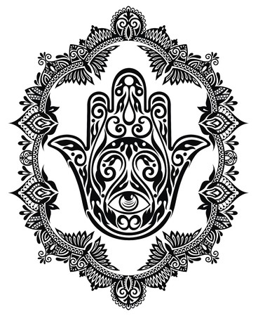 Hamsa hand in decorative frame Illustration