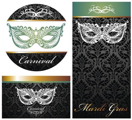 masquerade ball: Masquerade ball party invitation posters Illustration