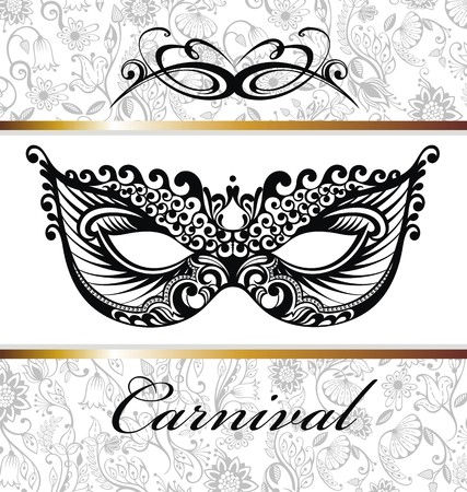 Mardi Gras celebration poster with venetian mask and feathers and letters
