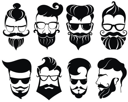 male hair: Hipster hair and beards, fashion vector illustration set