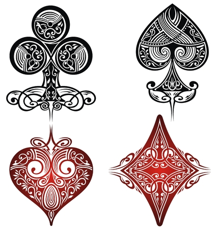 decrepit: Vintage Playing Cards Symbols Set.Tattoo set