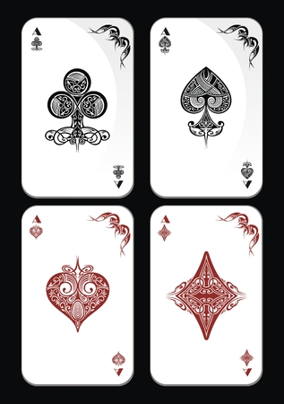 Playing Card Vintage Ornamental.Poker playing cards Ilustrace