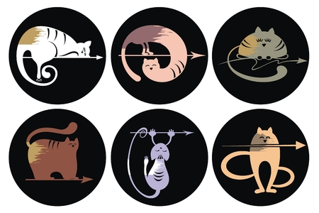 large group of objects: Set of cats Silhouettes