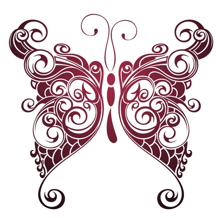 butterfly flower: Butterfly illustration in red Illustration