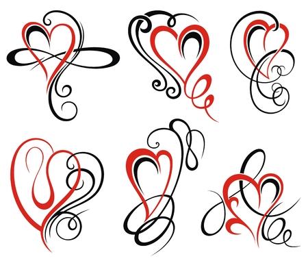 Set di cuori di valentine per il tuo design