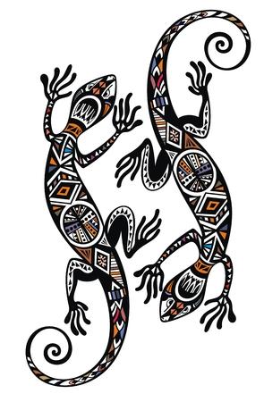 Gecko lizard in in tattoo style Illustration