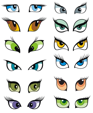 female animal: Eyes and eye icon set vector collection. Look and Vision icons
