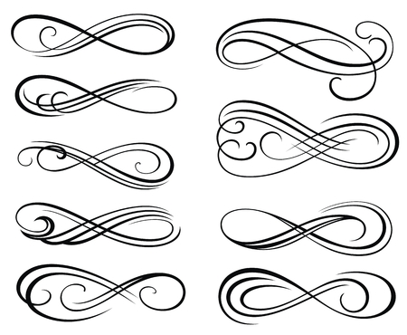 Infinity symbols. Vector Swirl Elements for your Design. Vintage Decorative Vettoriali