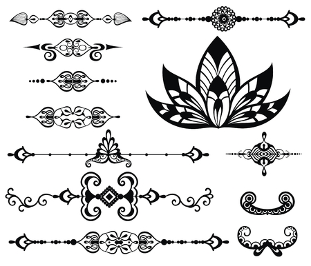 frame border: Vector floral decor set, collection of hand drawn doodle boho style elements