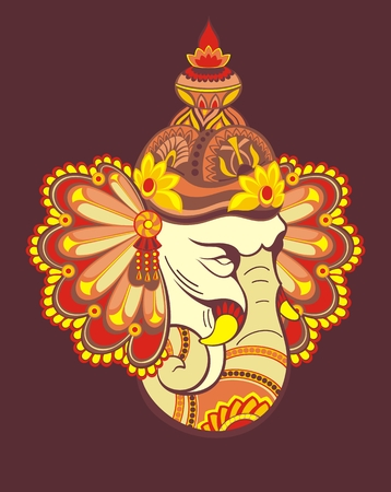 Ornament beautiful card with God Ganesha