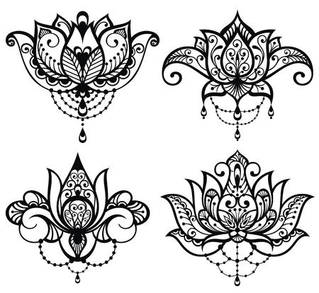Lotus tattoo set Illustration