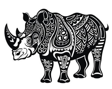 Decorative Rhinoceros in tattoo style
