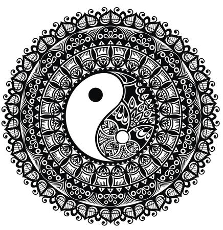 Yin Yang. Mandala Illustration