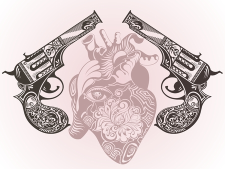 americana: Tattoo guns with heart Illustration