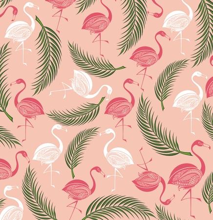 Summer background with birds.Flamingo Illustration