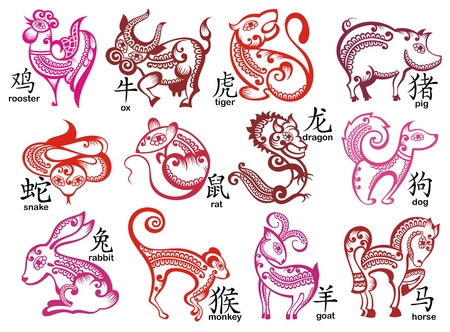 Chinese zodiac signs design set vector illustration.