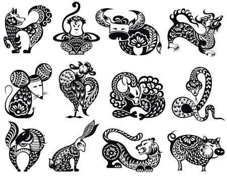 12 Chinese dierenriemtekens met decoratieve elementen Stock Illustratie