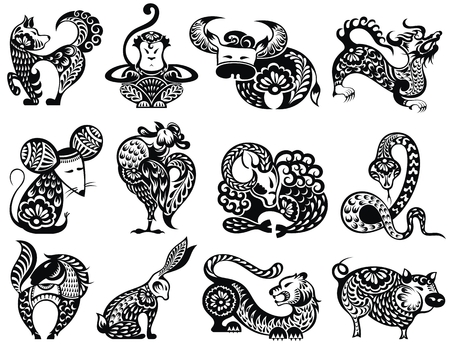 12 Chinese zodiac signs with decorative elements