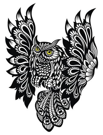 Owl. Tattoo, poster, print, t-shirt.