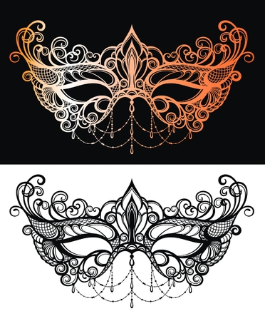 Beautiful lace masquerade mask. Illustration