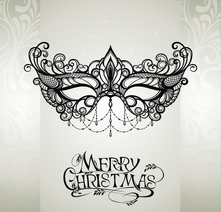 Mask and Merry Christmas illustration