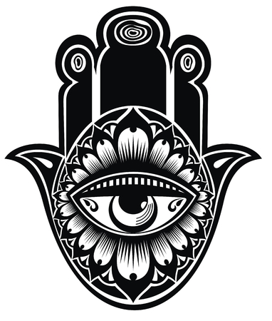 Hand drawn Hamsa or of Fatima. Vector illustration with ethnic and floral ornaments
