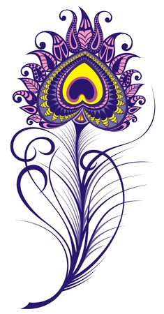 Artistically drawn, stylized, vector peacock feather