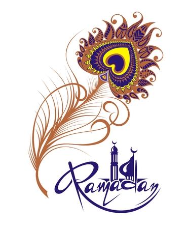 Ramadan Kareem  greeting card with feather illustration. Illustration