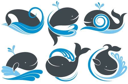 Whales with splash of water Stock Illustratie