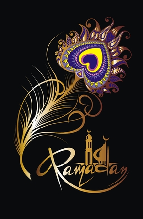 Ramadan Kareem illustration with decorative feathers and arabian mosque