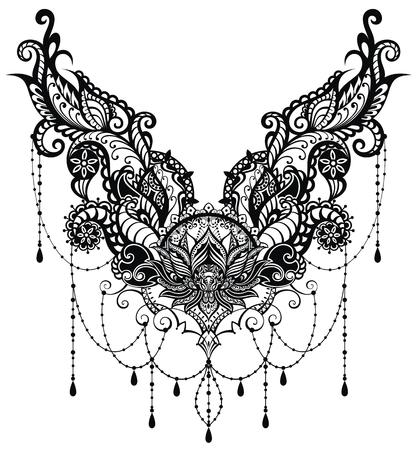 Ornamental vector lotus flower, ethnic art.