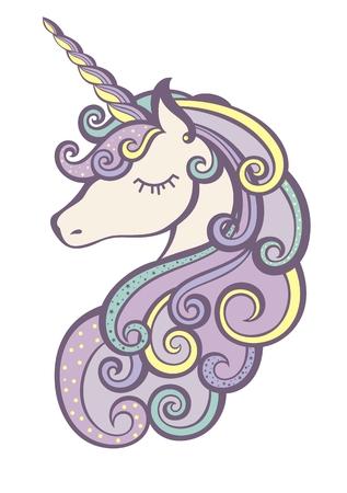 Unicorn vector icon isolated on white. Head portrait horse sticker Illustration