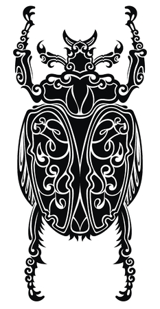 Stylized scarab. Doodle ethnic patterned vector bug