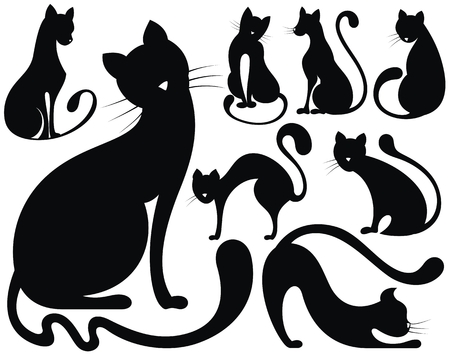Black and white silhouette of cats vector collection
