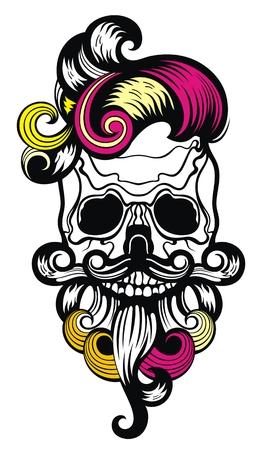 Vector illustration of skull on white background.