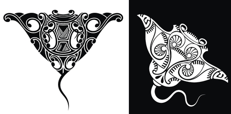 Ornate Stingray Fish in tattoo style. Isolated vector illustration.