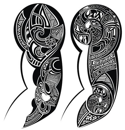 Black and white tattooed hand tattoo Stock Illustratie