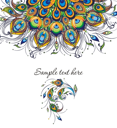 Illustration of a card template with peacock feathers and sample text