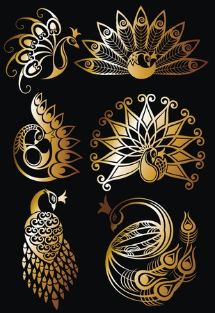 Set of gold peacocks with a black background Ilustração