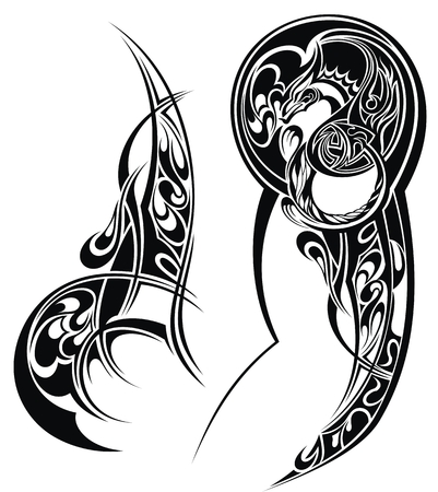 Tattoo with abstract style design. Tattoo arm
