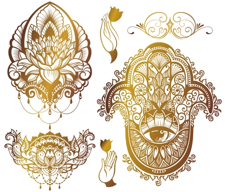 Eastern theme - lotus, hamsa 矢量图像