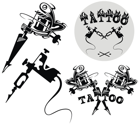 Tattoo studio emblem with tattoo machines