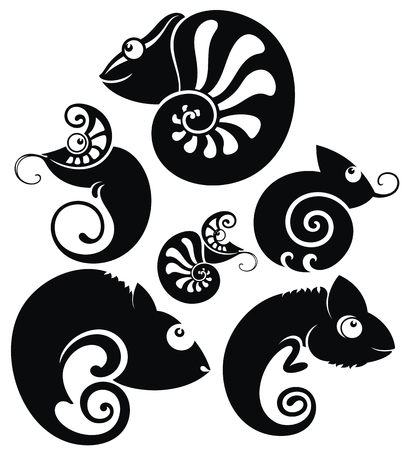 Black and white cartoon chameleons set in tattoo style