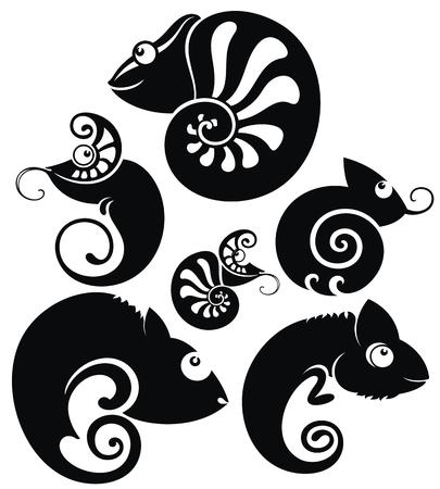 Black and white cartoon chameleons set in tattoo style Illustration