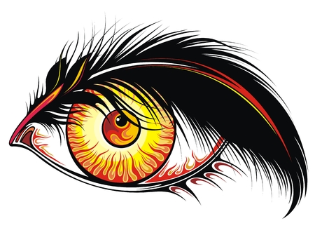 Beautiful tattoo eye with fire in it Çizim