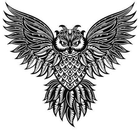 Decorative Owl. Tattoo, poster, print in black