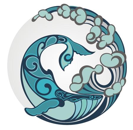 Gestileerde hand getrokken walvisstaart in oceaangolven, vectorillustratie, rond decoratief element Vector Illustratie