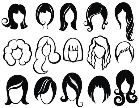 Acconciatura, silhouette., Donna, ragazza, femmina, hair., Bellezza, vettore, parrucca, simboli